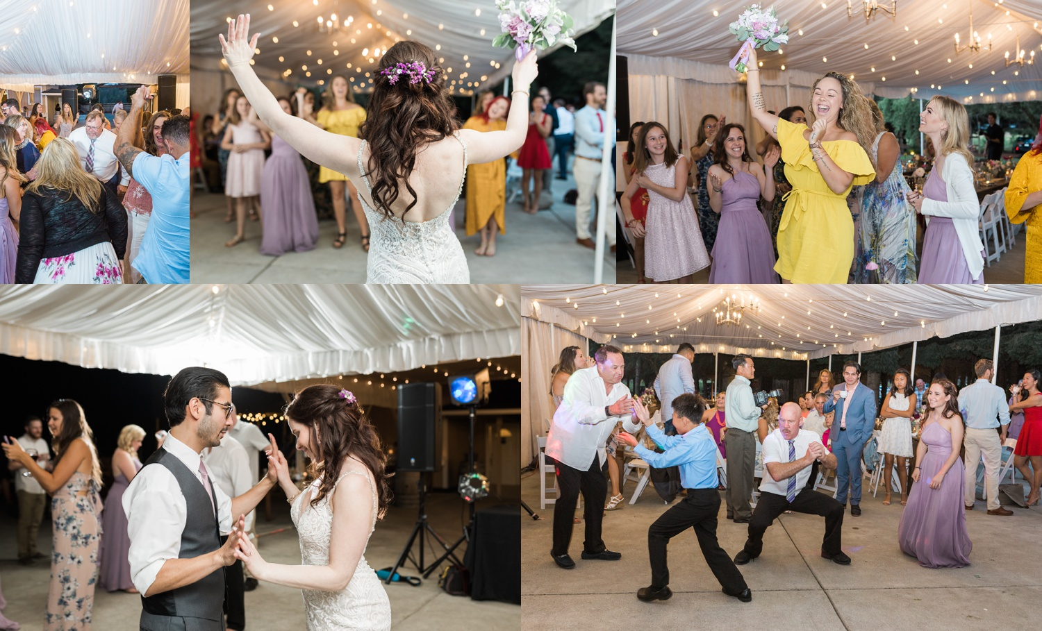 A bride, groom, and their guests dance during a wedding reception at Woodland Meadow Farms in Snohomish, a wedding venue near Seattle, WA. | Joanna Monger Photography | Seattle & Snohomish Photographer