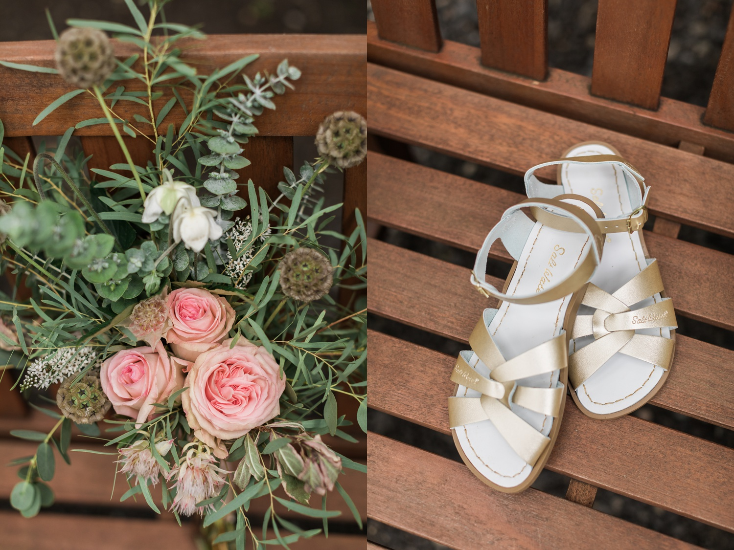 A photo of a bridal bouquet and gold wedding sandals before a summer wedding at Maroni Meadows in Snohomish, a wedding venue near Seattle, WA. | Joanna Monger Photography | Seattle & Snohomish Photographer
