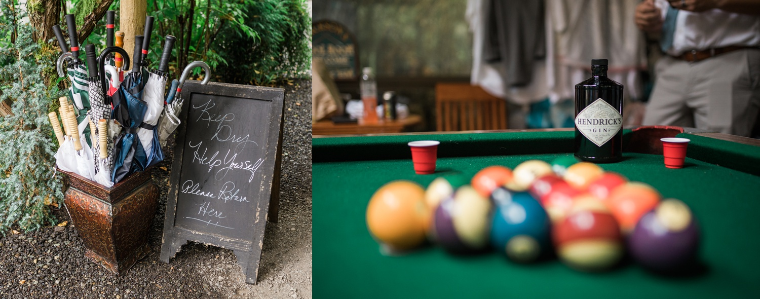 A relaxing moment playing pool before a summer wedding at Maroni Meadows in Snohomish, a wedding venue near Seattle, WA. | Joanna Monger Photography | Seattle & Snohomish Photographer