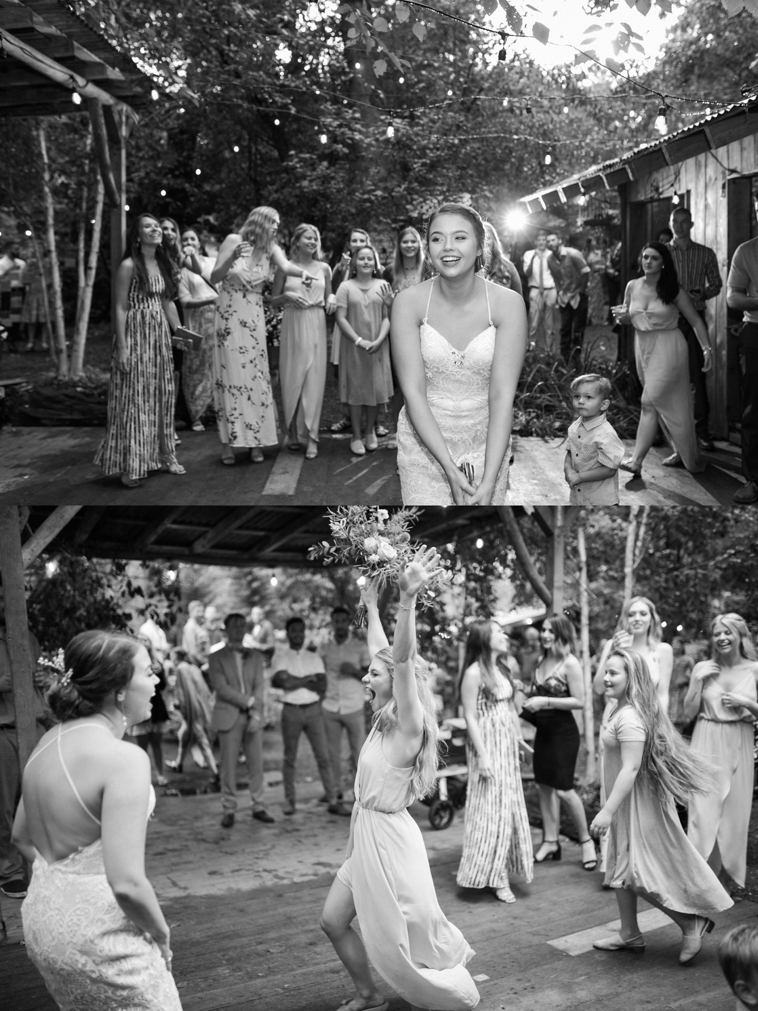 A black-and-white photo of a bride tossing her bouquet during a summer wedding at Maroni Meadows in Snohomish, a wedding venue near Seattle, WA. | Joanna Monger Photography | Seattle & Snohomish Photographer