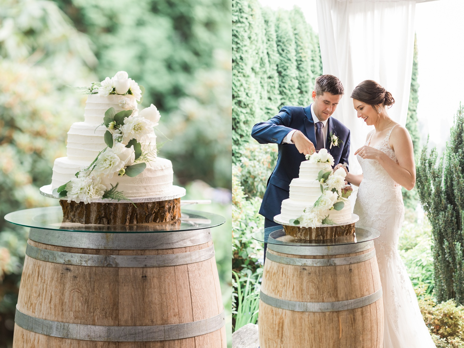 A bride and groom cut their wedding cake during their reception at Chateau Lill in Woodinville, a wedding venue near Seattle, WA. | Joanna Monger Photography | Seattle & Snohomish Photographer