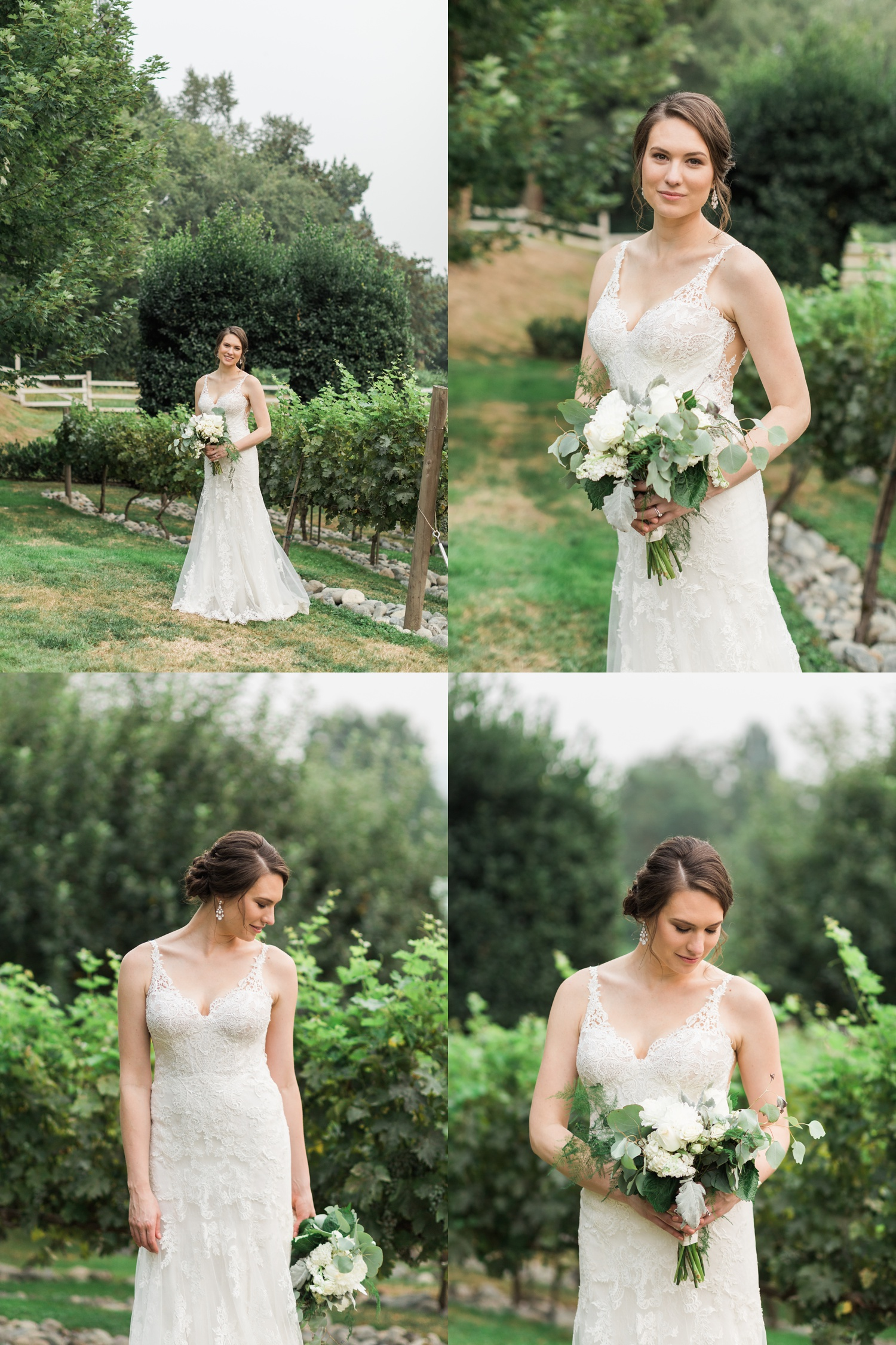 A bride stands in a vineyard before her wedding at Chateau Lill in Woodinville, a wedding venue near Seattle, WA. | Joanna Monger Photography | Seattle & Snohomish Photographer