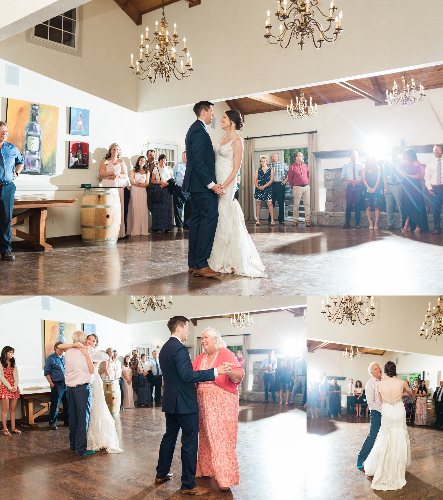 A bride and groom have their first dance at a wedding at Chateau Lill in Woodinville, a wedding venue near Seattle, WA.   Joanna Monger Photography   Seattle & Snohomish Photographer