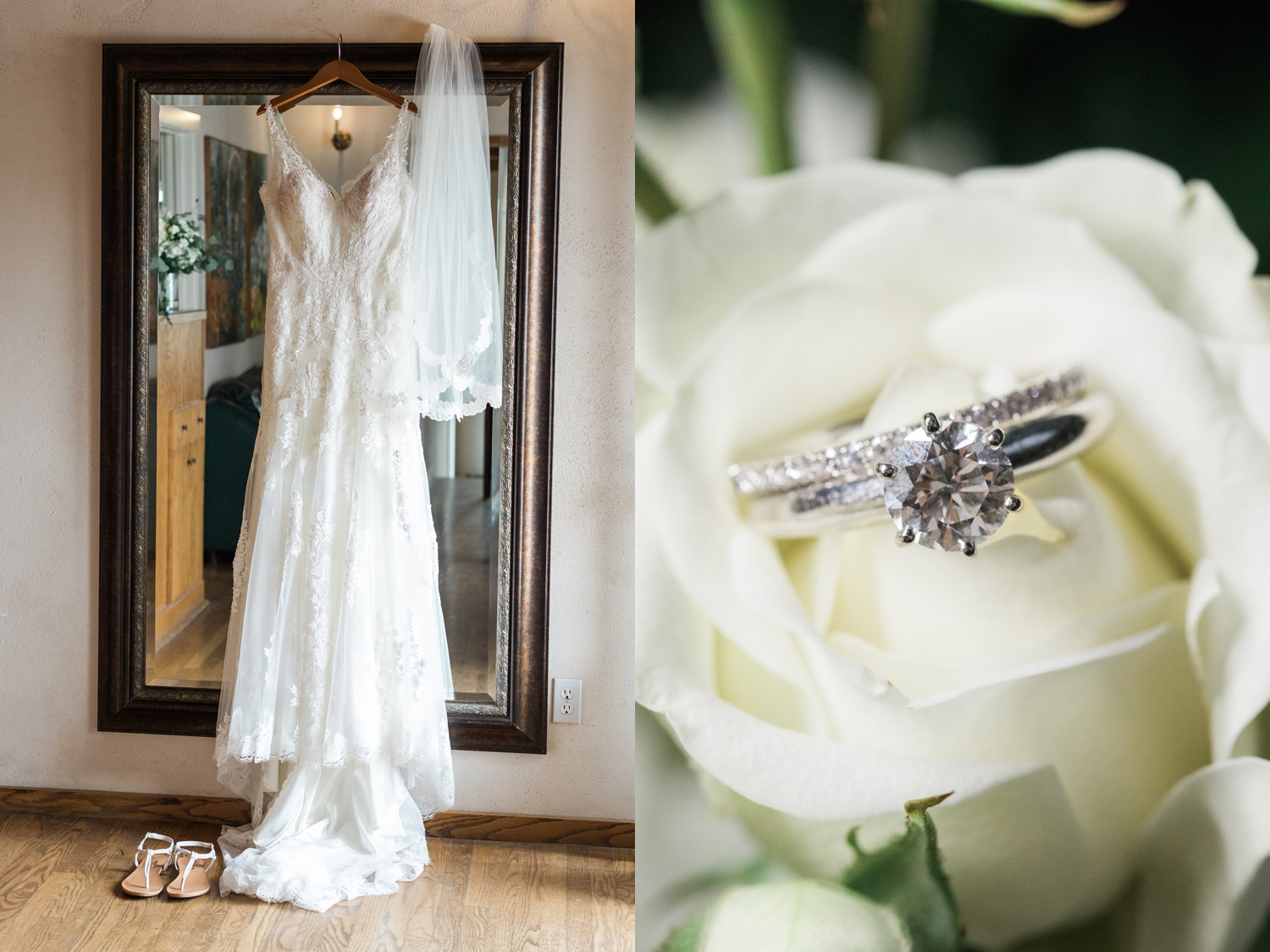A picture of a hanging bridal dress and ring before a wedding atChateau Lill in Woodinville, a wedding venue near Seattle, WA. | Joanna Monger Photography | Seattle & Snohomish Photographer
