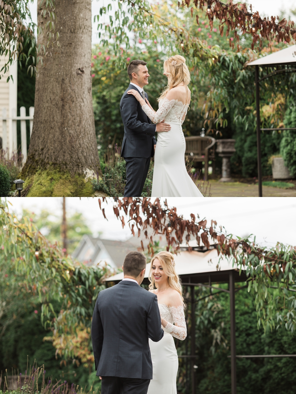 Photo of bride and groom's first look at an intimate wedding at Belle Chapel in Snohomish, a wedding venue near Seattle. | Joanna Monger Photography | Snohomish & Seattle Photographer