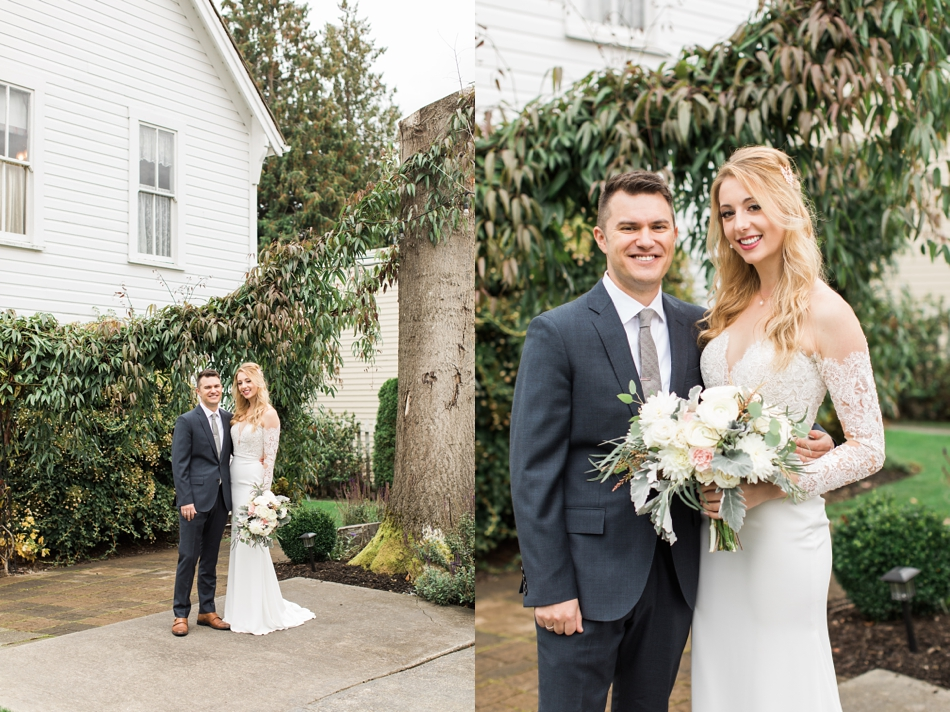 Photo of bride and groom standing in front of chapel at an intimate wedding at Belle Chapel in Snohomish, a wedding venue near Seattle. | Joanna Monger Photography | Snohomish & Seattle Photographer