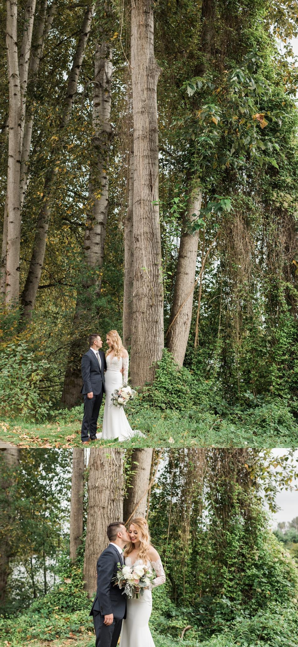 Photo of bride and groom standing under tall trees before their intimate wedding at Belle Chapel in Snohomish, a wedding venue near Seattle. | Joanna Monger Photography | Snohomish & Seattle Photographer