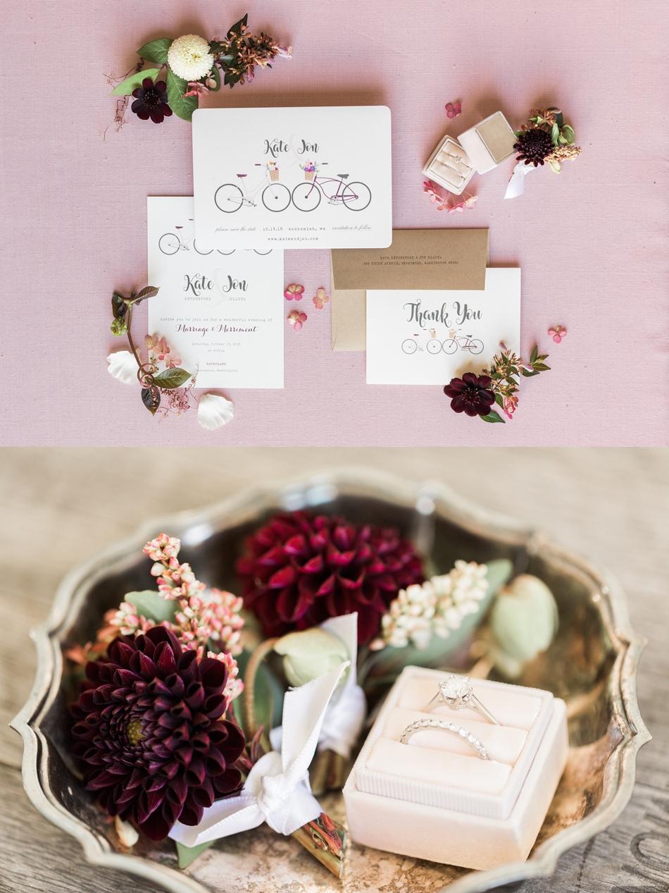 Burgundy wedding invitations for a Snohomish barn wedding at Dairyland venue. | Joanna Monger Photography