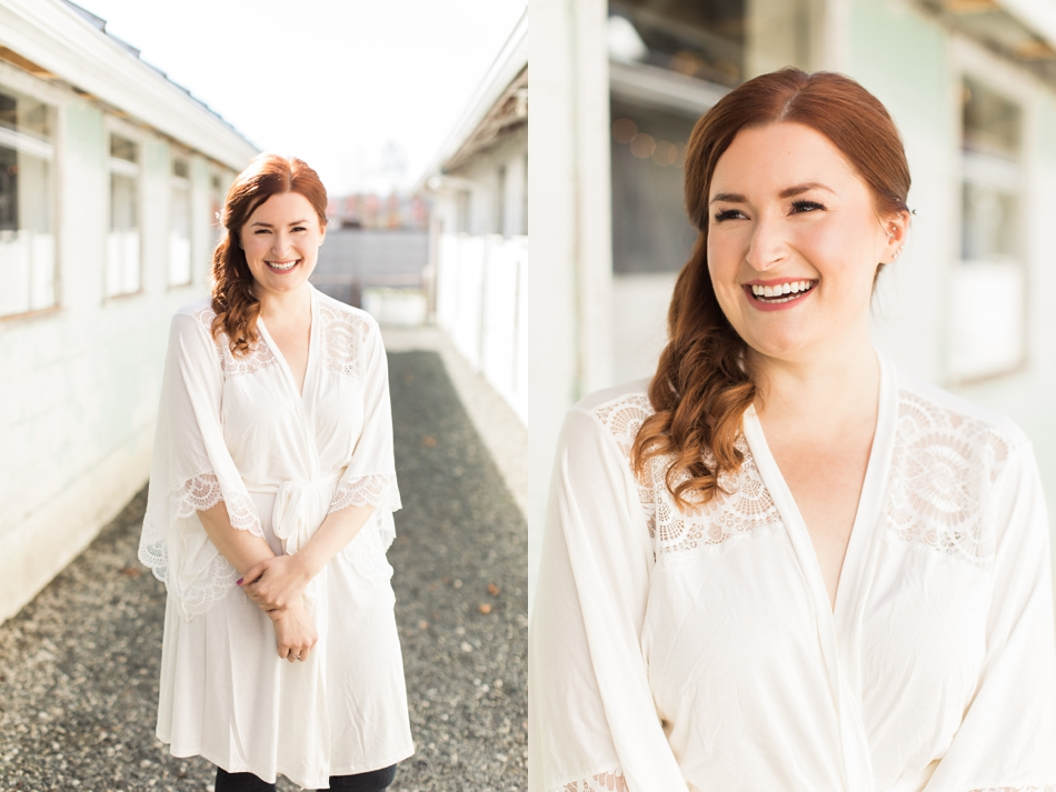 Bride standing in front of Snohomish wedding venue Dairyland Barn Photos near Seattle. | Joanna Monger Photography