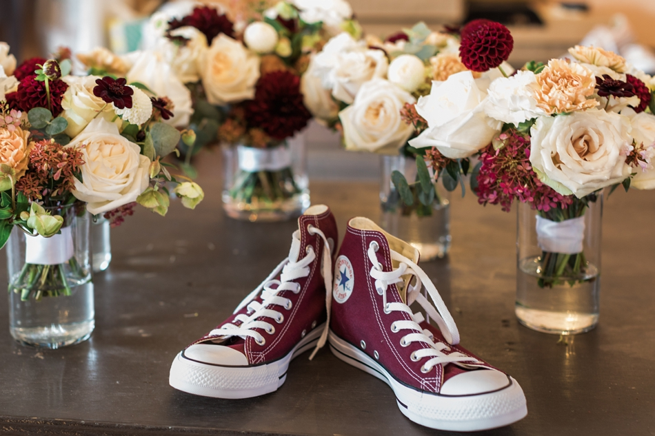 Photo of groom's Converse shoes at Snohomish Wedding Venue Dairyland Barn near Seattle | Joanna Monger Photography