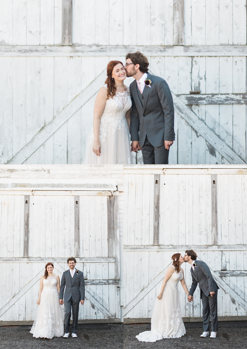 Photo of bride and groom in front of white-wash barn at Snohomish Wedding Venue Dairyland Barn near Seattle | Joanna Monger Photography