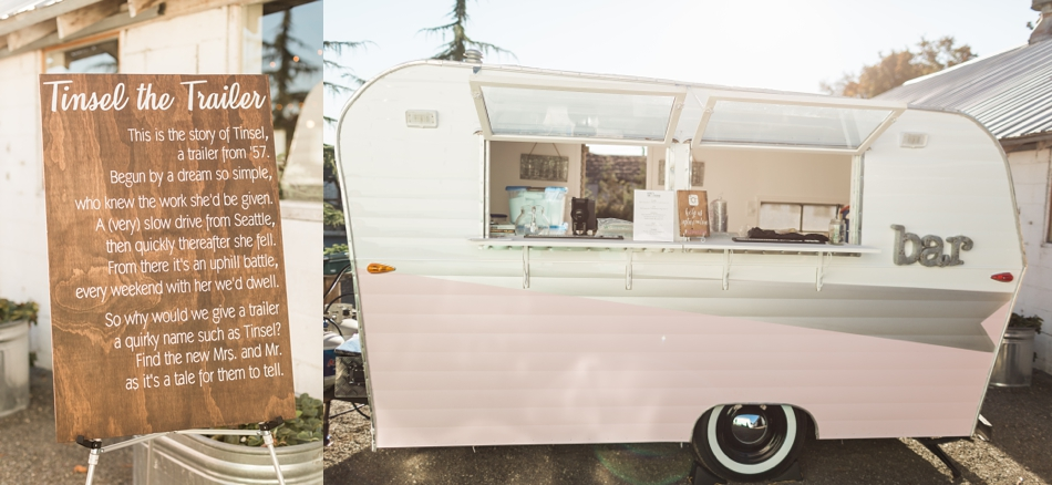 Photo of vintage trailer at Snohomish Wedding Venue Dairyland Barn near Seattle | Joanna Monger Photography