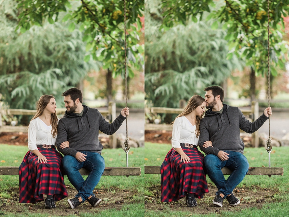 cute engaged couple of tree swing for engagement photos in Snohomish, WA near Seattle