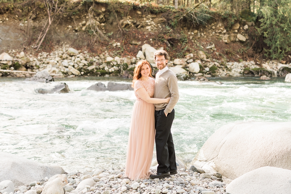 An engaged couple embraces during their Steven's Pass engagement shoot for their dreamy DIY wedding at Dairyland in Snohomish, a wedding venue near Seattle. | Joanna Monger Photography | Snohomish & Seattle Photographer