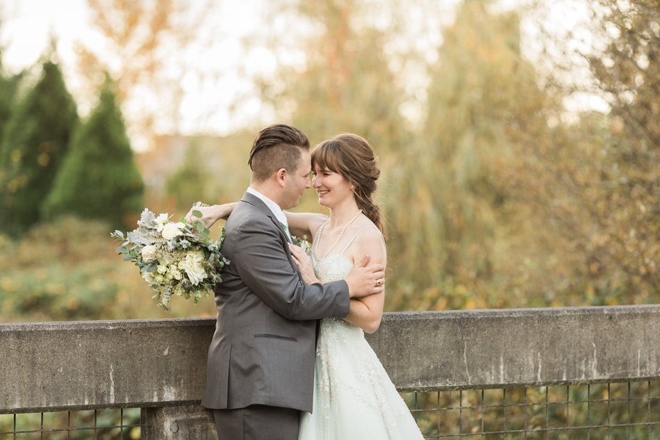 A photo of an intimate moment between a groom and his bride before their fall wedding at the Loft at Russell's in Bothell, a wedding venue near Seattle. | Joanna Monger Photography | Snohomish & Seattle Wedding Photographer