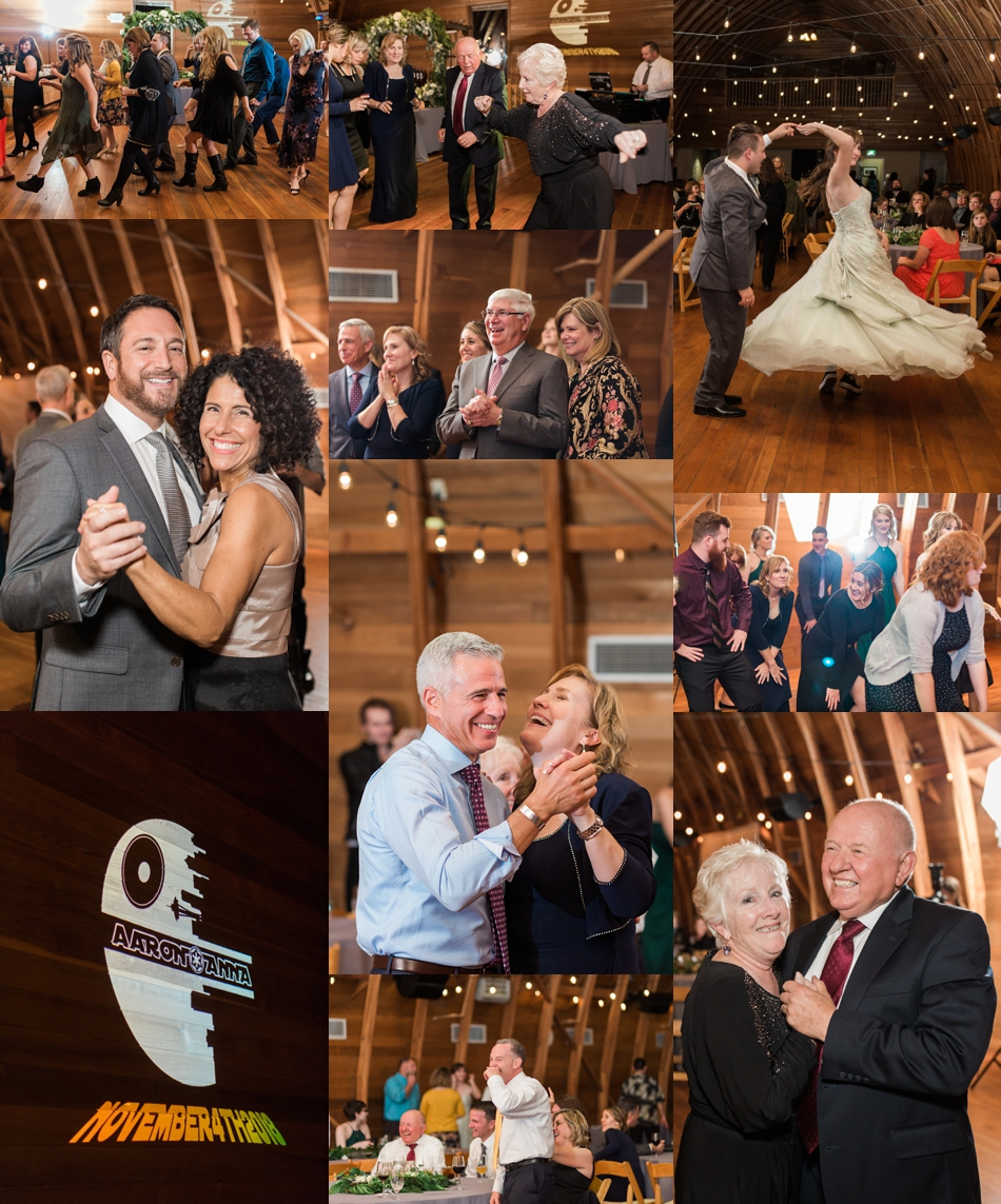 A photo of guests dancing during a fall wedding at the Loft at Russell's in Bothell, a wedding venue near Seattle. | Joanna Monger Photography | Snohomish & Seattle Wedding Photographer