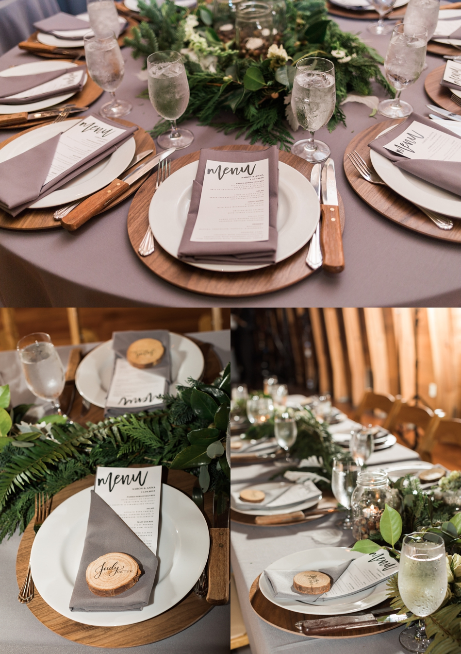 A photo of tableware, stemware, and a floral centerpiece during the reception of a fall wedding at the Loft at Russell's in Bothell, a wedding venue near Seattle. | Joanna Monger Photography | Snohomish & Seattle Wedding Photographer