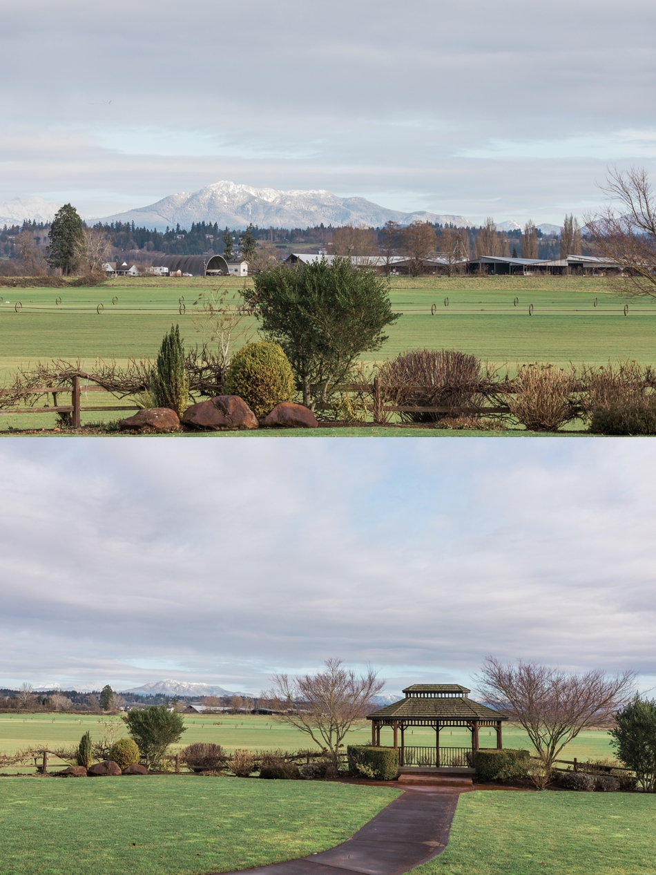 A photo of the landscape and mountains before a winter wedding at Hidden Meadows in Snohomish, a wedding venue near Seattle, WA. | Joanna Monger Photography | Snohomish & Seattle Wedding Photographer