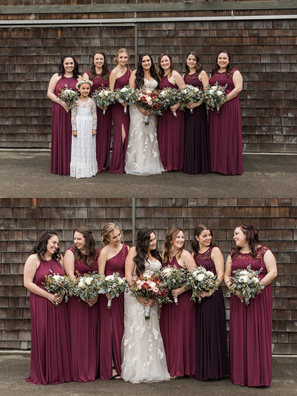 A photo of a bride and her bridesmaids before her winter wedding at Hidden Meadows in Snohomish, a wedding venue near Seattle, WA. | Joanna Monger Photography | Snohomish & Seattle Wedding Photographer