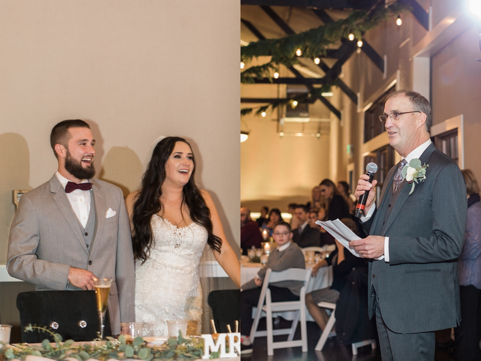 A photo during a reception toast of a winter wedding at Hidden Meadows in Snohomish, a wedding venue near Seattle, WA. | Joanna Monger Photography | Snohomish & Seattle Wedding Photographer