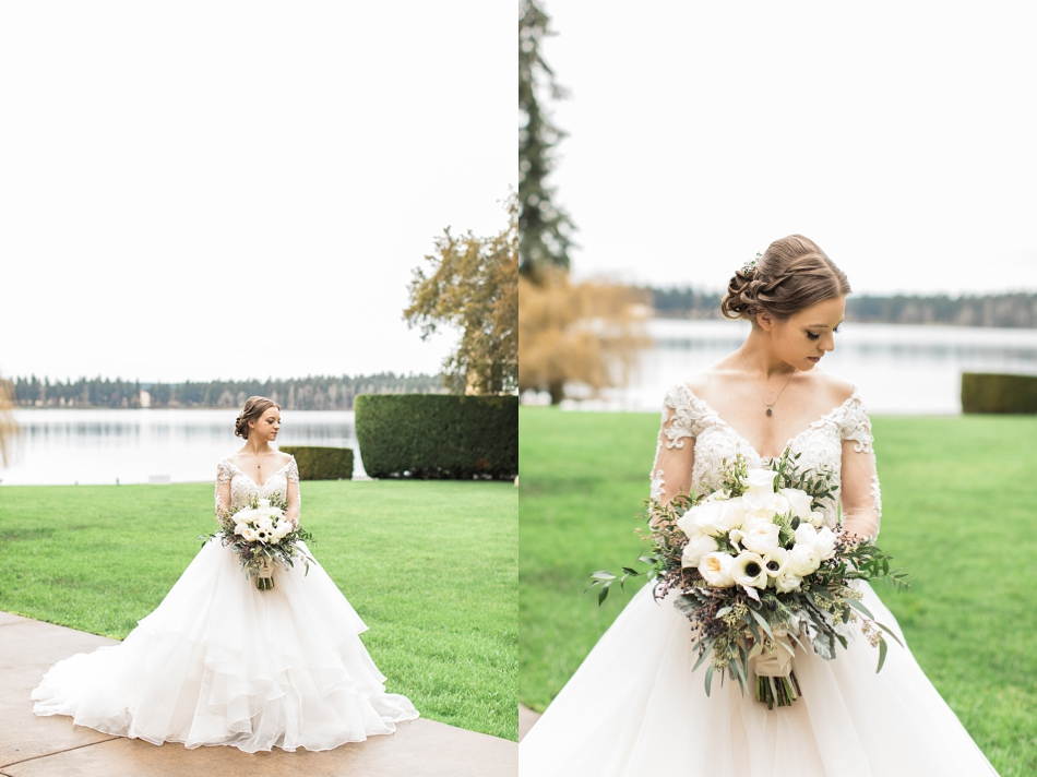 A bride stands alone outside before her regal winter wedding at Thornewood Castle in Lakewood, a wedding venue near Seattle, WA. | Joanna Monger Photography | Seattle & Snohomish Wedding Photographer