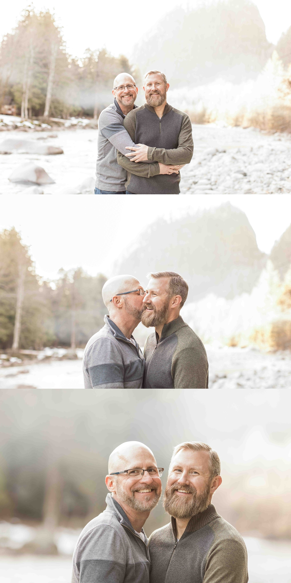 An engaged couple hold each other by a river during their spring outdoor mountain engagement shoot in Snohomish, near Seattle, WA. | Joanna Monger Photography | Snohomish Wedding Photographer