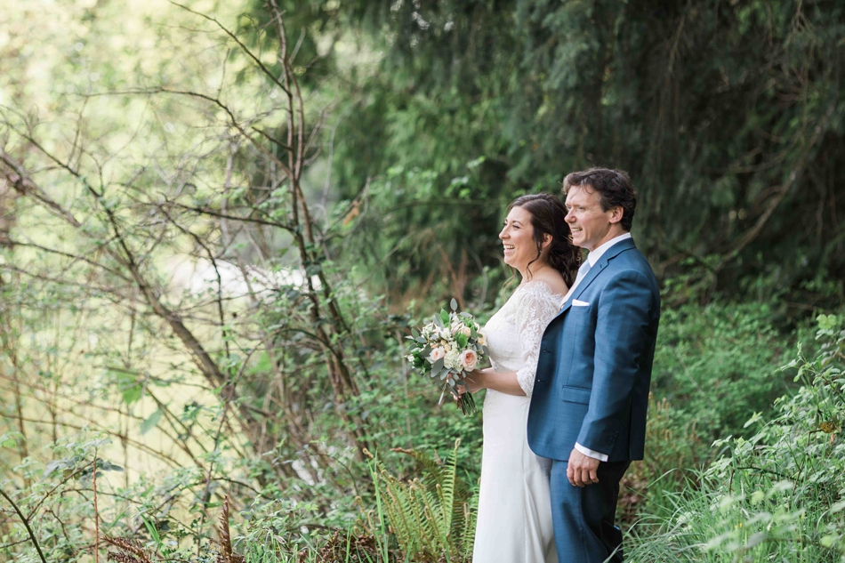 A couples portrait before their intimate wedding at Belle Chapel in Snohomish, a wedding venue near Seattle, WA. | Joanna Monger Photography | Snohomish Wedding Photographer