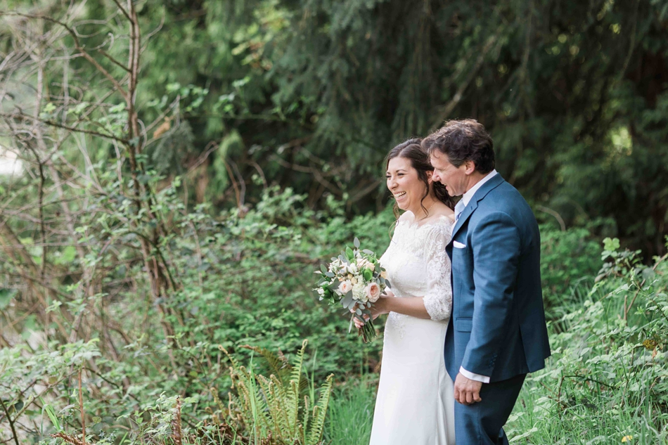 Photo of a bride and groom before their intimate wedding at Belle Chapel in Snohomish, a wedding venue near Seattle, WA. | Joanna Monger Photography | Snohomish Wedding Photographer