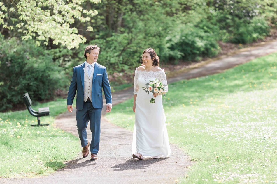 Outdoor picture of a bride and groom before their intimate wedding at Belle Chapel in Snohomish, a wedding venue near Seattle, WA. | Joanna Monger Photography | Snohomish Wedding Photographer