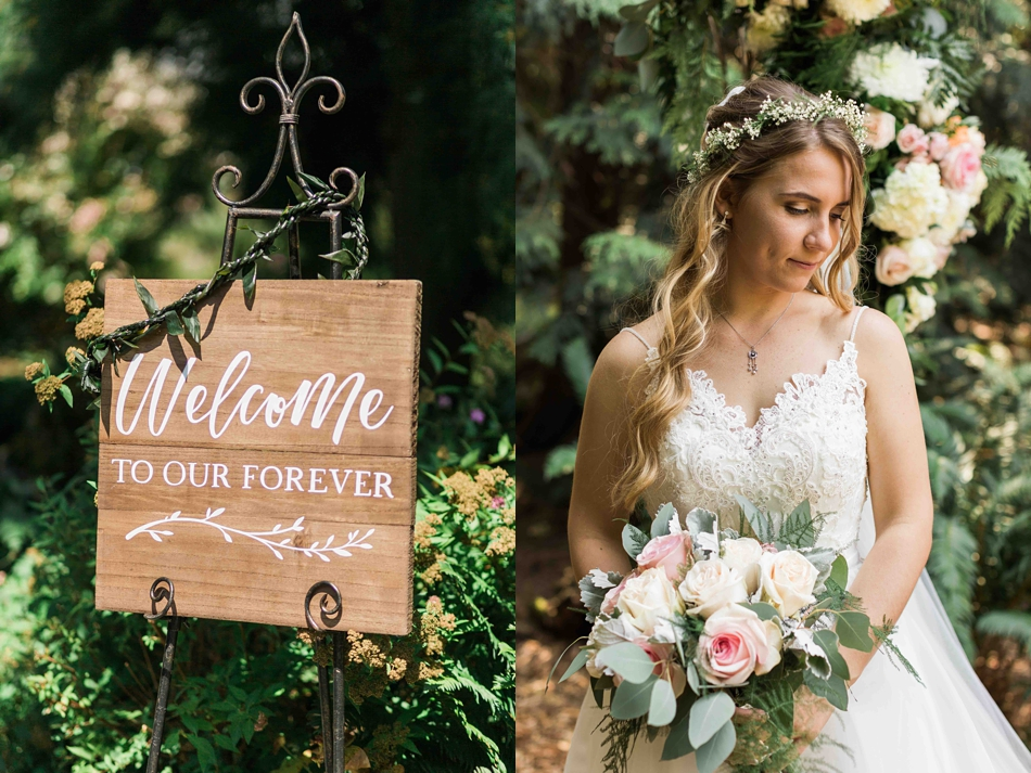 Bride by the welcome sign at Twin Willow Gardens in Snohomish. Photos by Joanna Monger Photography, Snohomish and Seattle Wedding Photographer.