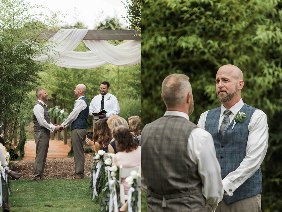 Wedding vows at Falling Water Gardens in Monroe. Photos by Joanna Monger Photography, Snohomish and Seattle Wedding Photographer.
