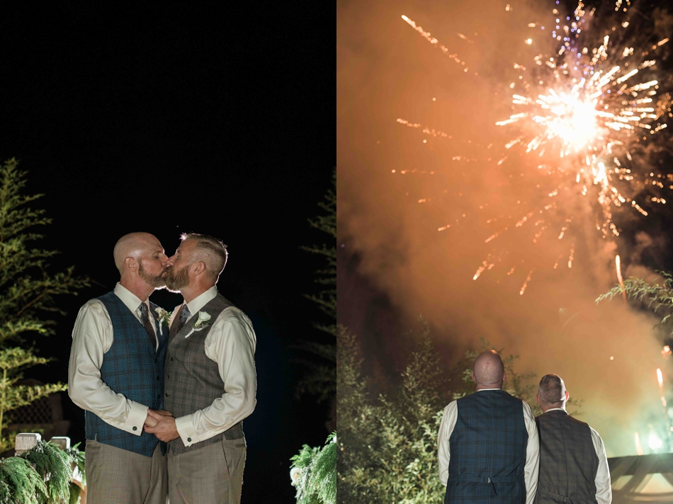Kissing in the night at Falling Water Gardens in Monroe. Photographs by Joanna Monger Photography, Award Winning Snohomish Wedding Photographer.