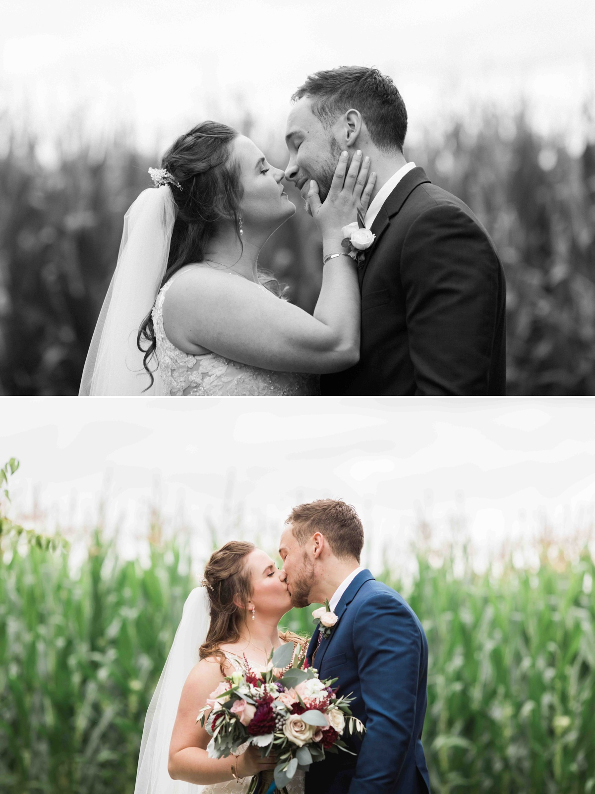 A wonderful kiss at Craven Farms in Snohomish. Photographs by Joanna Monger Photography, Snohomish's Best Wedding Photographer.