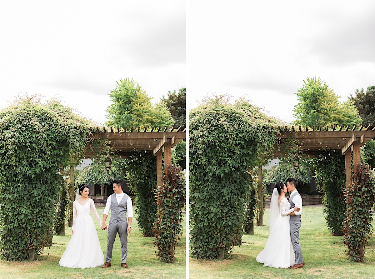 More kisses under the arbor at Craven Farms in Snohomish. Photos by Joanna Monger Photography, Snohomish and Woodinville Wedding Photographer.
