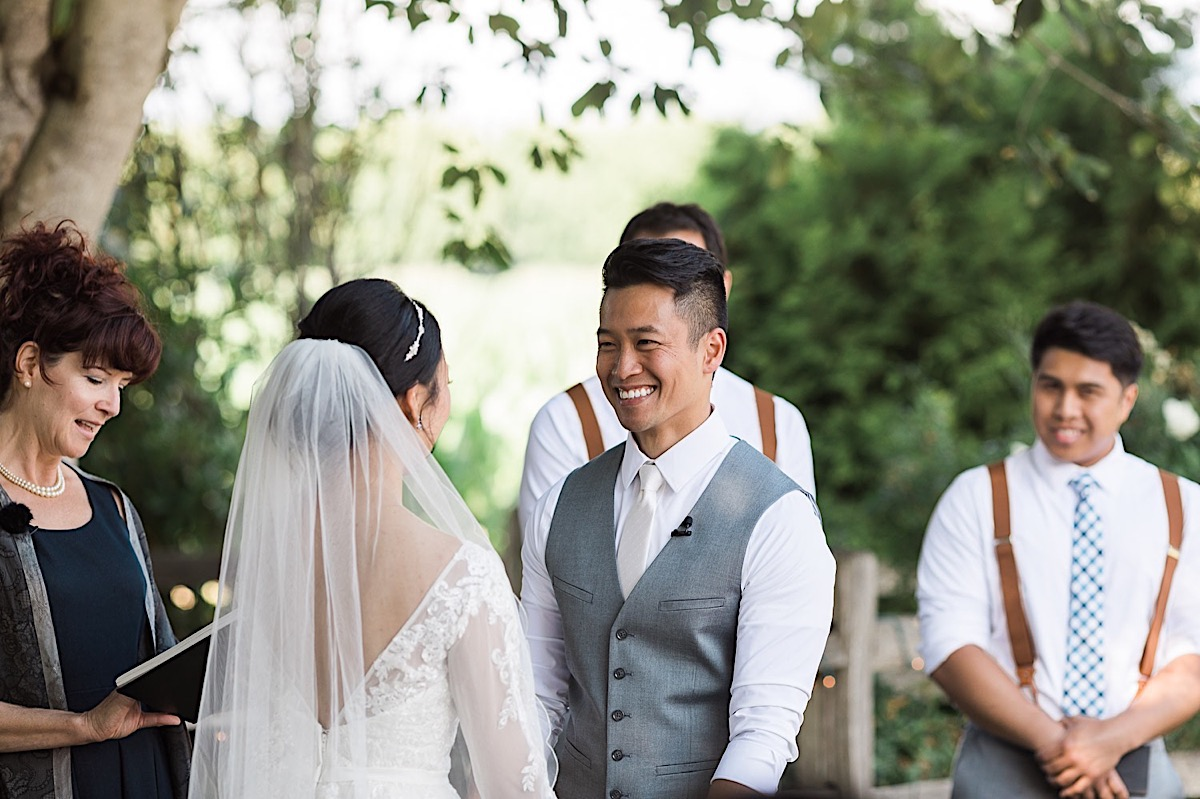 The bride and groom laugh at Craven Farms in Snohomish. Photographs by Joanna Monger Photography, Award Winning Snohomish Wedding Photographer.
