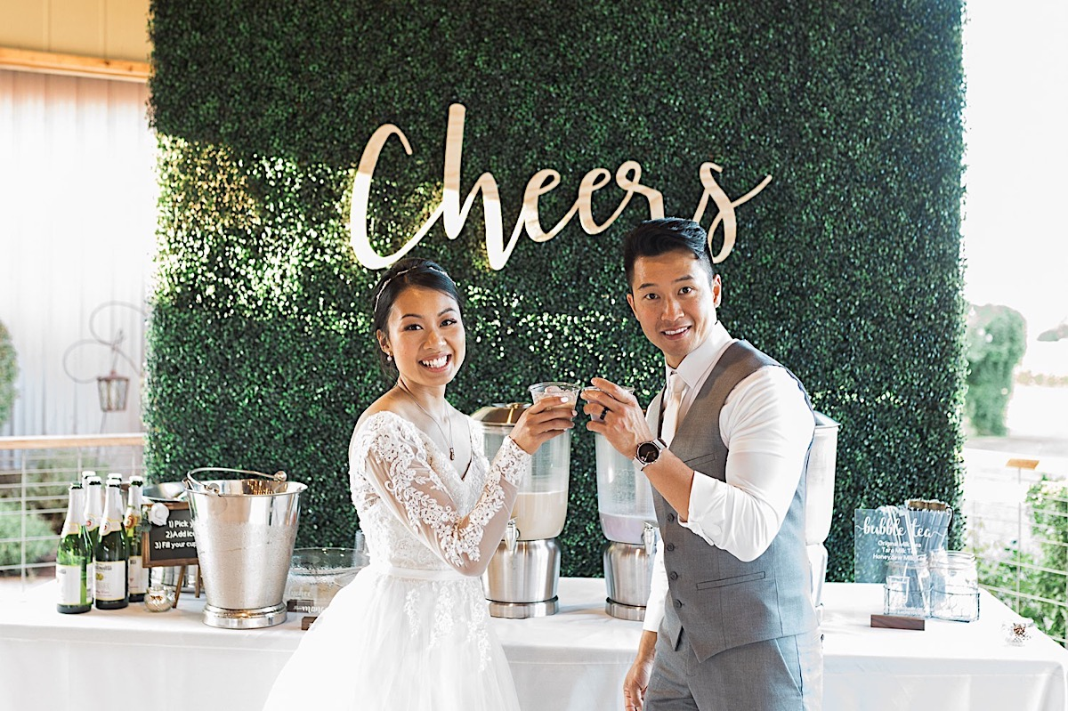 Cheers! Sharing a moment at Craven Farms in Snohomish. Photographs by Joanna Monger Photography, Snohomish's Best Wedding Photographer.