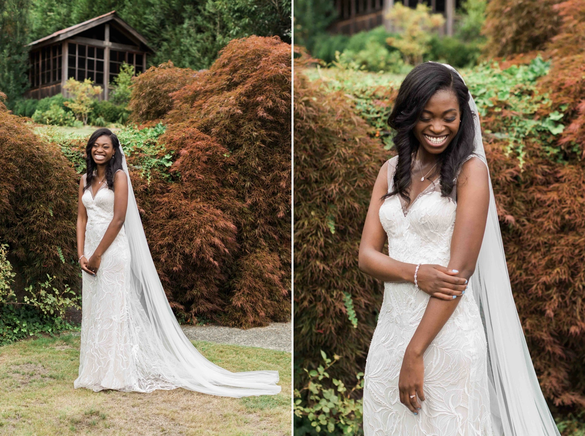 Beautiful wedding dress at Green Gates at Flowing Lake. Photos by Joanna Monger Photography, Snohomish and Seattle Wedding Photographer.