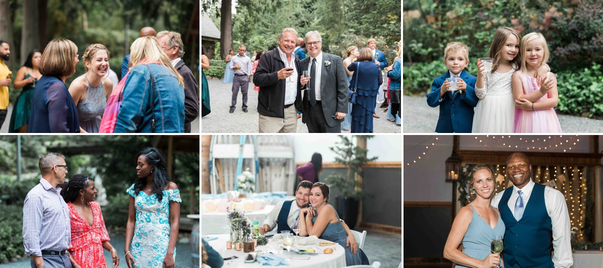 Wedding guests being merry at Green Gates at Flowing Lake. Photographs by Joanna Monger Photography, Snohomish's Best Wedding Photographer.