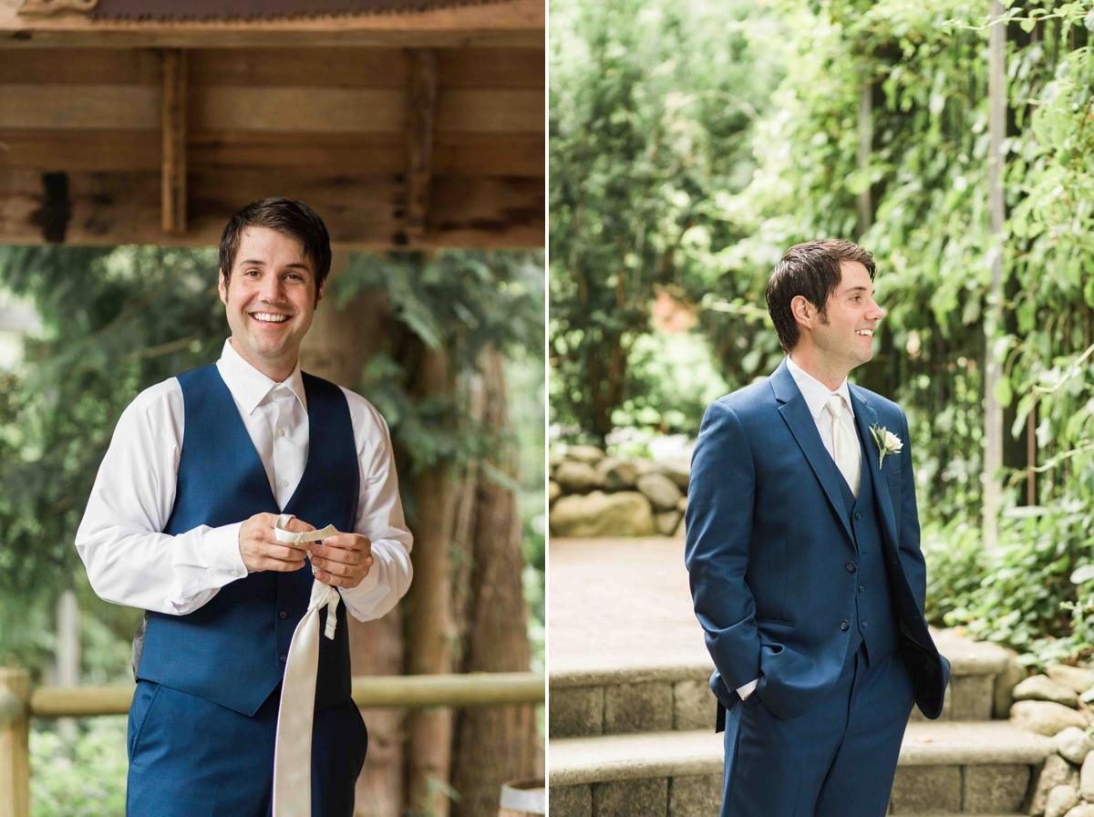The beaming groom at Green Gates at Flowing Lake. Photographs by Joanna Monger Photography, Award Winning Snohomish Wedding Photographer.