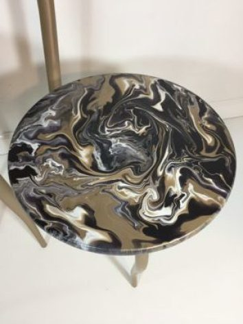 close up of acrylic poured table top.