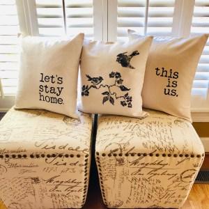 Decorative pillows displayed