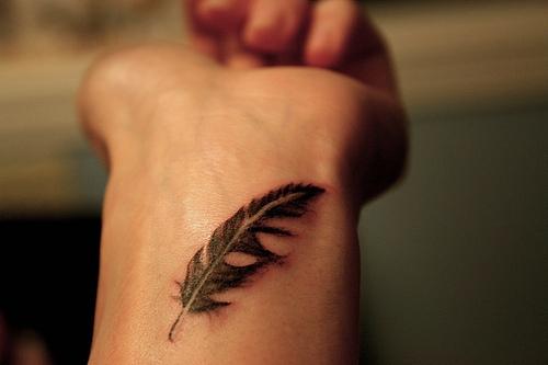 Female Wrist Tattoo - Inner Wrist Tattoo Design with Feather