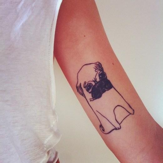 Dog pug tattoo designs - dog lovers arm tattoo idea