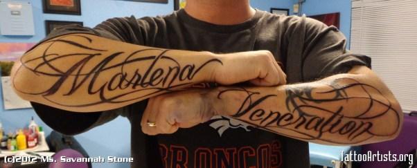 Arms Name Tattoo Design for Men