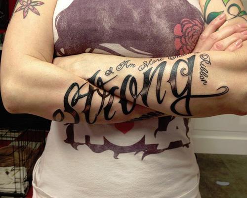 Script arms tattoo designs for men
