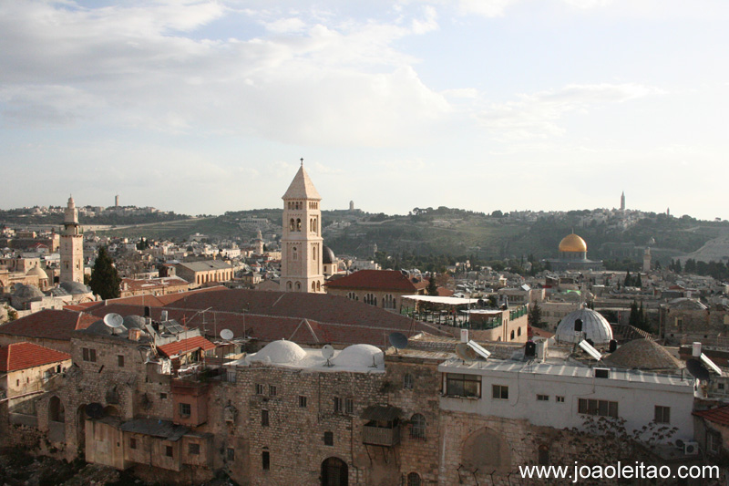 A Cupula da Rocha e a Cidade Antiga de Jerusalem