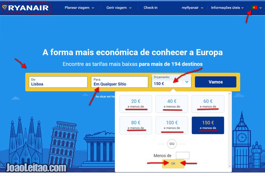 Como pesquisar e reservar um voo low cost no site da Ryanair
