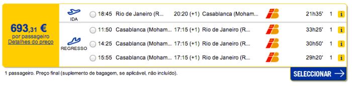 Bilhete avião Rio de Janeiro Casablanca em Marrocos