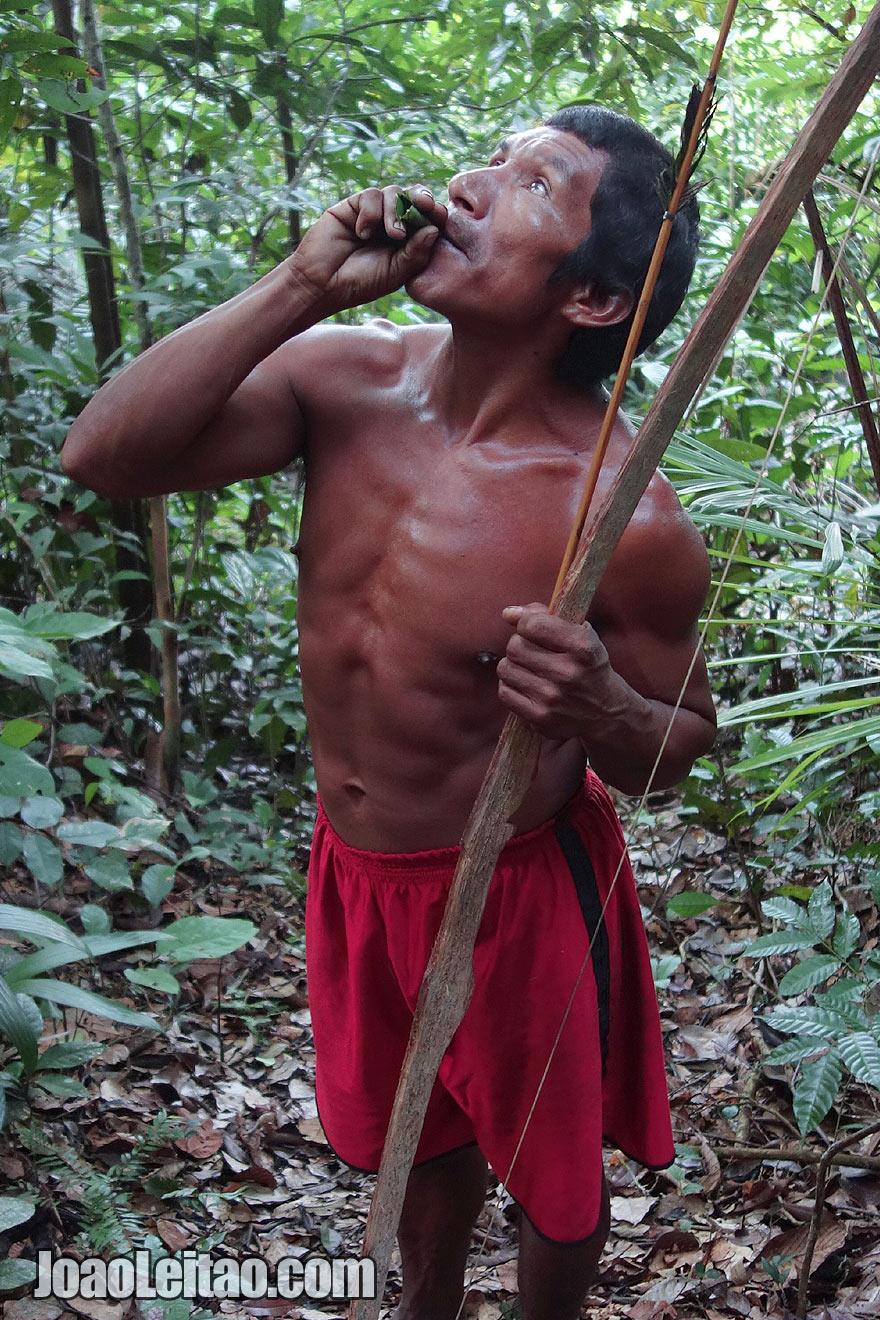 Homem indigena na selva do Amazonas