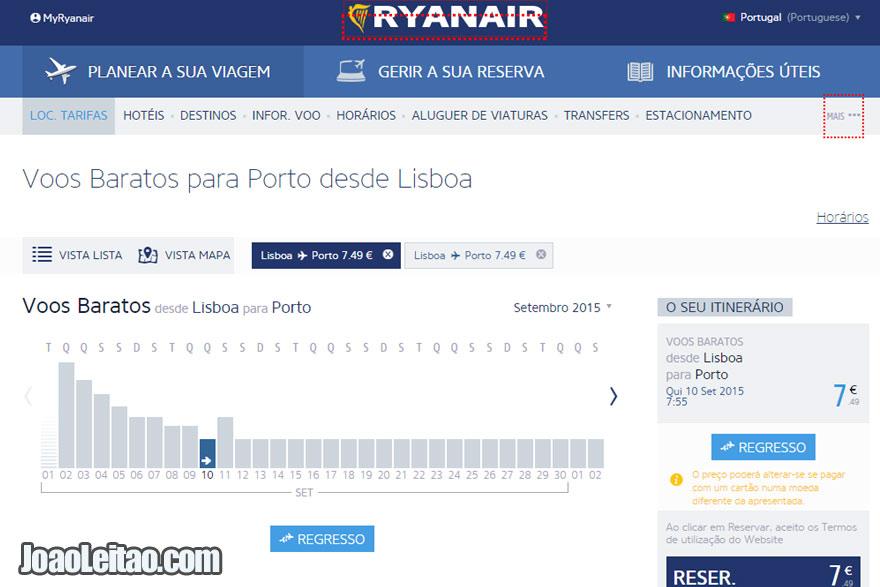Avião Lisboa Porto pela Ryanair